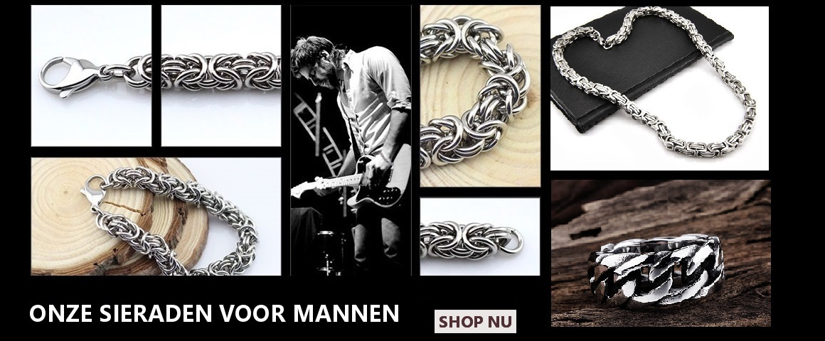 Heren sieraden, stalen sieraden, leren armbanden