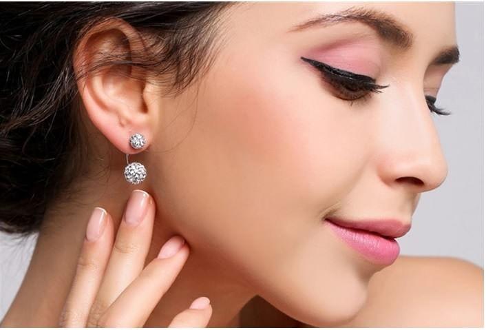 Double dots oorbellen kristallen