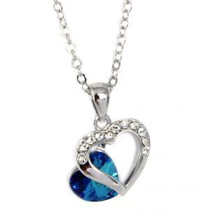 Ketting - Dubbel Hart - Blauw Kristal