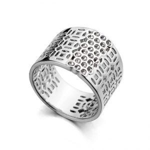 Brede Ring - Wit Verguld - Kristallen