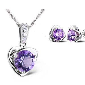 Purple Heart Set - Ketting & Oorknopjes