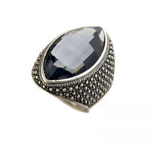 Ovale XL Ring - Zwart Kristal