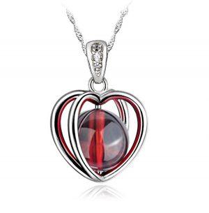 Halsketting rood hart kristal