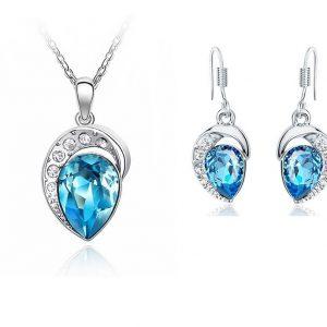 Set ketting & oorbellen blauw kristal