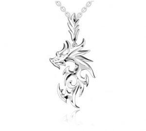 Verzilverde halsketting draak