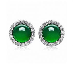 Zilveren Oorknopjes Groene Jade