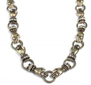 Halsketting verbonden handen - Handgemaakt - Vintage - 77 gram