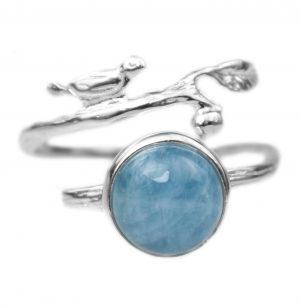 Zilveren Ring - Aquamarijn - Vogeltje - Handgemaakt