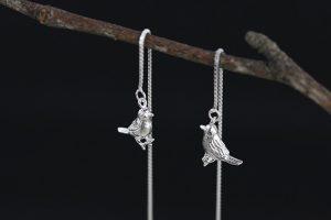 Zilveren Doortrek Oorbellen - Vogeltjes Oorhangers