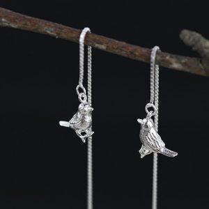 Zilveren Doorsteek Oorbellen Vogeltjes