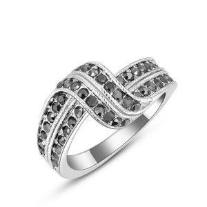Ring - Zwarte Stenen - Wit Verguld