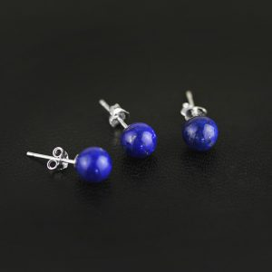Zilveren Oorknoppen met Lapis Lazuli