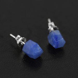 Zilveren Oorknoppen Blauwe Aventurijn