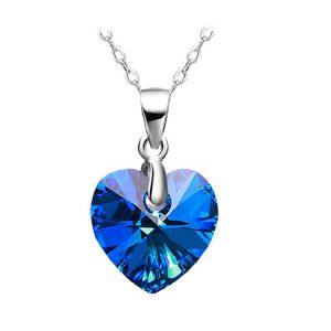 Damesketting 925 sterling zilver blauw hart van kristal