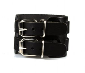 Brede Leren Armband - Zwarte Armband - Leren Herenarmband