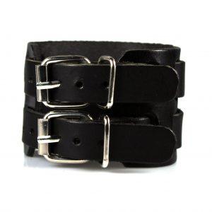 Brede Leren Armband - Dubbele Gesp