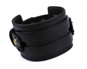 Brede Leren Armband - Twee Riemen - Zwart