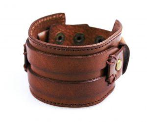 Brede Leren Armband - Twee Riemen - Bruin