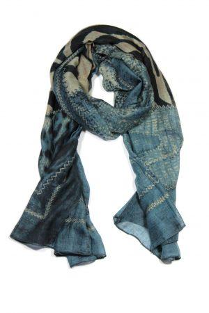 Dames Sjaal XXL in Lichtblauw Witte Fantasie Print