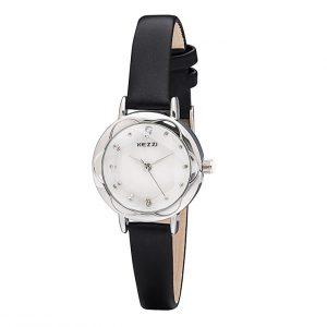 Dames Horloge met Zwart Leren Bandje - Ø 25mm