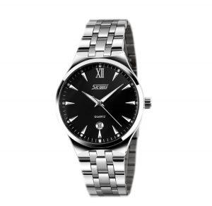 Heren Horloge Staal – Zilverkleurig – Zwart