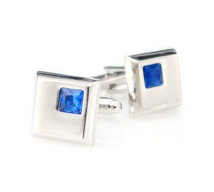 Vierkante Manchetknopen Blauw Kristal