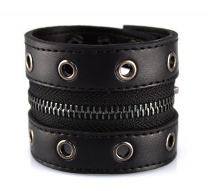 Brede Leren Armband - Rits - Zwart