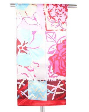 Rode Dames Sjaal Bloemenprint 90 x 90cm