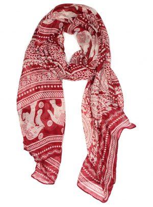 Lange Dames Sjaal Rood met Wit Olifantenprint 100% Viscose