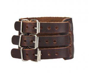 Extra Brede Armband - Leer - 3 Riemen
