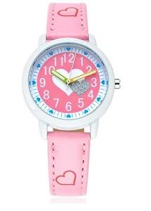 Roze Meisjes Horloge Hartjes - Leren Bandje