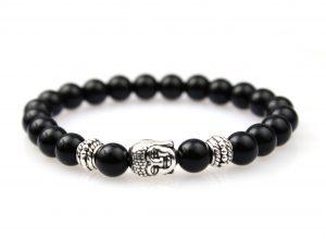 Kralen Armband Zwarte Agaat - Boeddha