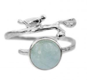 Zilveren Ring - Vogeltje - Handgemaakt -Prehniet