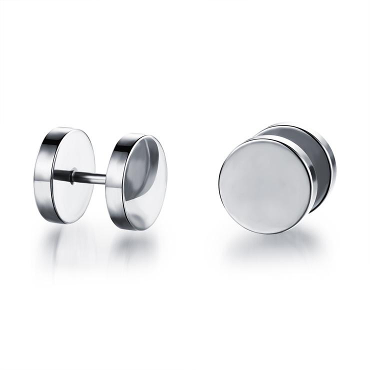 mannen studs oorbellen - zilveren look - Ø 9mm - lazy cat sieraden