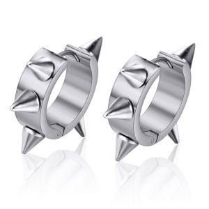 Stalen Oorbellen Spikes - Zilver