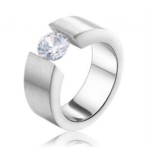 Stalen Ring Zirkonia - Zilveren Look