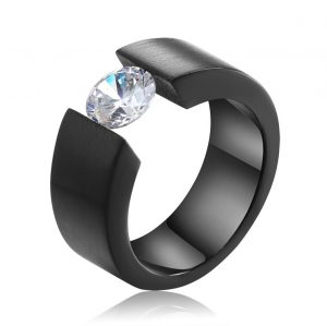 Zwarte Stalen Ring Zirkonia