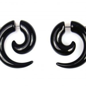 Grote Zwarte Spiraalplugs - Oorbellen