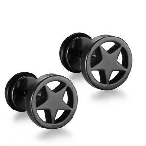 Zwarte Mannen Oorbellen - Black Star Studs