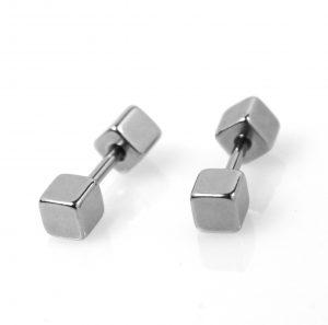 Vierkante Stud Oorbellen - Zilver