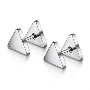 Stud Oorbellen - Driehoek - Zilver - Triangle Studs