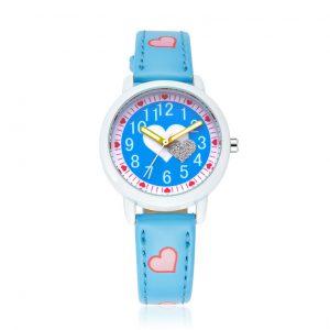 Meisjes Horloge Hartjes - Leren Bandje - Blauw