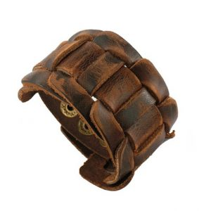 Brede Leren Armband - Gevlochten - Bruin