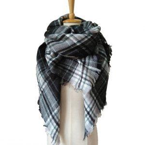 Geruite Dames Sjaal - Black & White