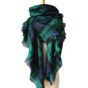 Geruite Dames Sjaal - Green & Blue