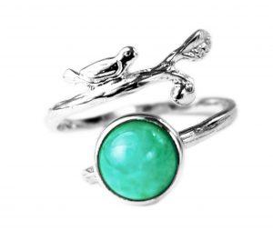 Handgemaakte Zilveren Ring Vogeltje - Amazoniet Edelsteen