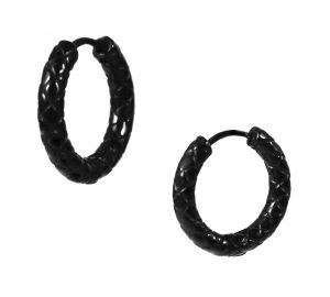 Zwarte Oorringen - Edelstaal - Snake Skin