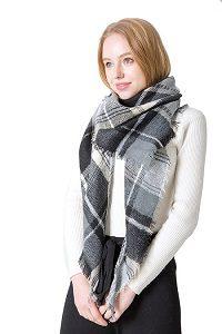 Geruite Omslagdoek – Black & White – Driehoek Sjaal