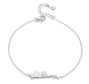 Zilveren Armband - Twee Vogeltjes - Liefdes Armband