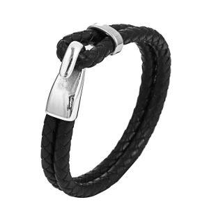 Zwarte Leren Armband - Bolo Armband